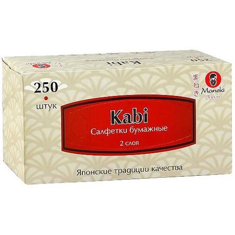 Салфетки-выдергушки двухслойные бумажные с микротиснением Maneki Kabi 250 шт