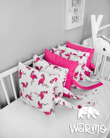 Набір бортиків-подушок в ліжечко 30x30см РОЖЕВІ ФЛАМІНГО