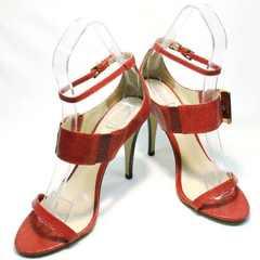 Сандалии босоножки красные на каблуке Via Uno1103-6605 Red.