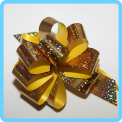 Бант подарочный золотой с блестками 3 см