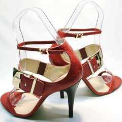Женские босоножки с закрытой пяткой Via Uno1103-6605 Red.