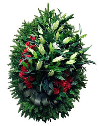 Траурный венок из живых цветов ВЖ 14 -180 см