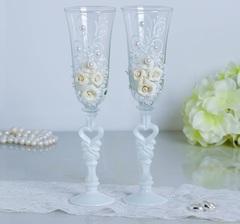 Набор свадебных бокалов «Розы», с лепниной и бисером, белый, фото 1