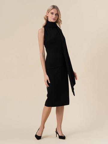 Женский джемпер черного цвета с открытым плечом и 100% кашемира - фото 5