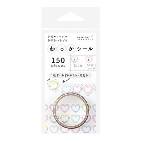 Стикеры Midori Notebook Sticker Wakka Hearts