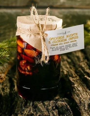 Ореховое ассорти в сосновом сиропе(грецкий орех, фундук, миндаль)