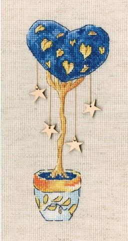 Топиарий-дерево счастья (6,5*16, Аида 16, Льняная)