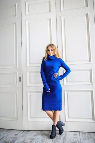Платье свободного кроя синее