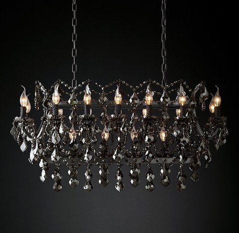Подвесной светильник копия 19th C. Rococo Iron & Smoke Crystal Rectangular Chandelier 40