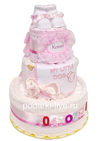 Торт из подгузников для девочки именной с датой