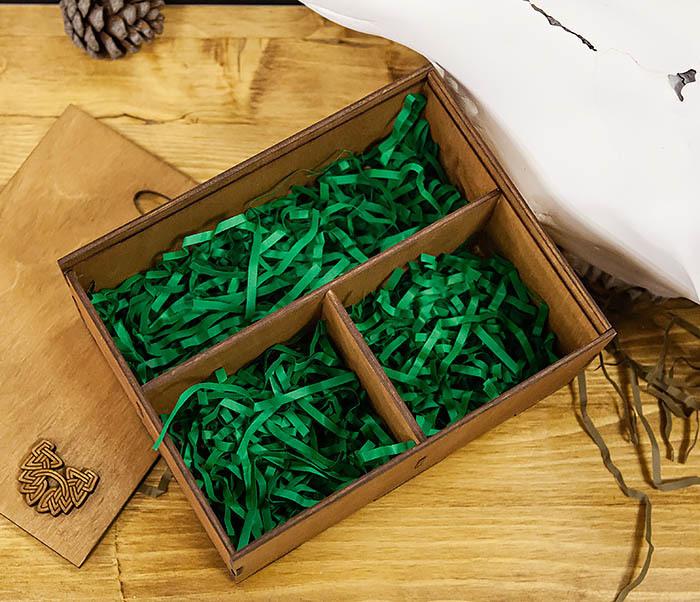 BOX245-2 Подарочная коробка из дерева с тремя отделениями внутри, А6 (19*15*8,5 см) фото 04