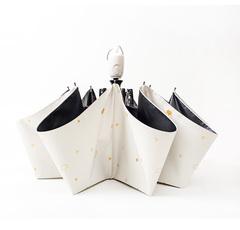Женский облегченный зонт, с защитой от УФ, 8 спиц, принт- Звезды и короны (белый)