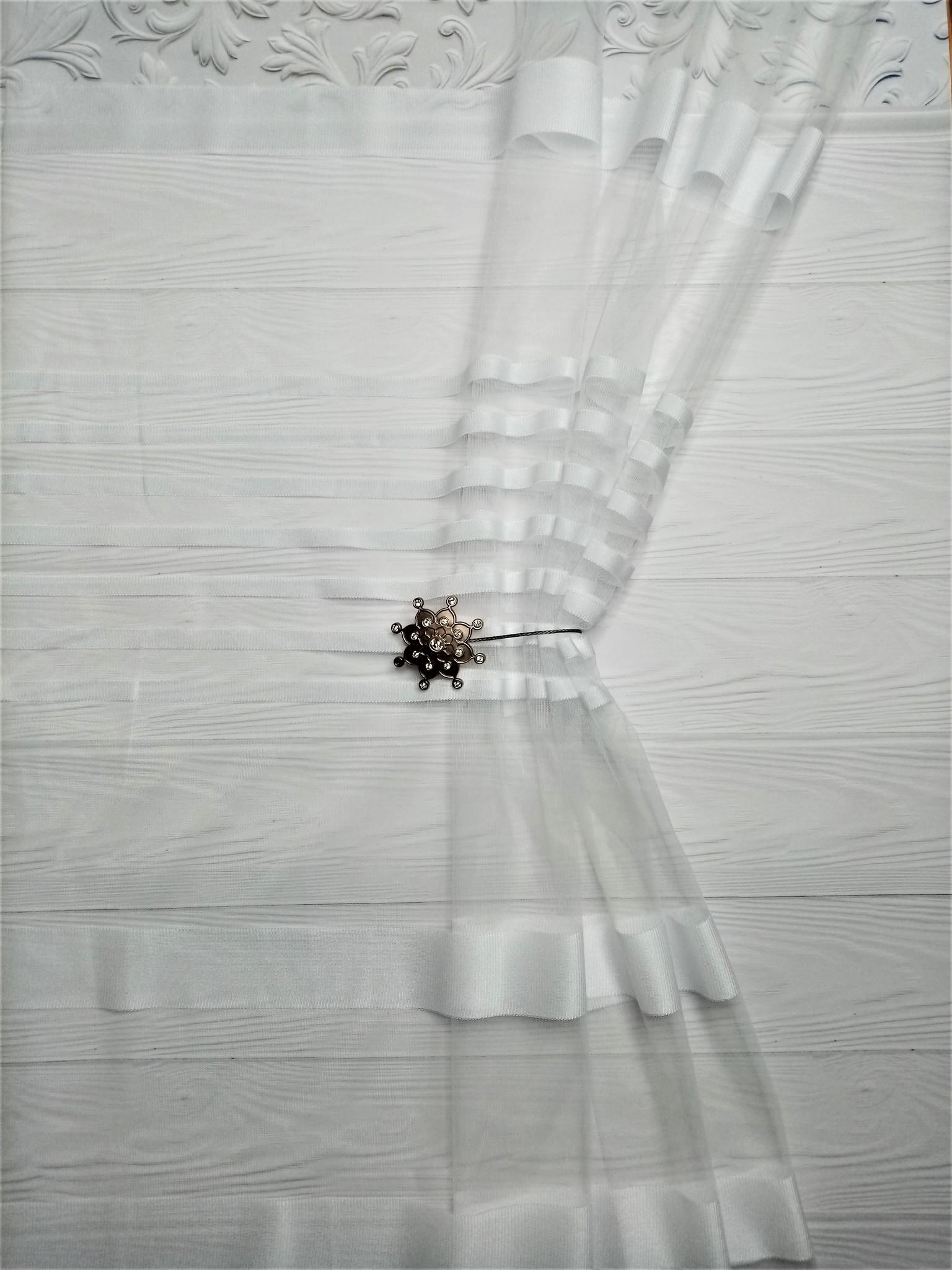 Тюлевая сетка страйп Белый