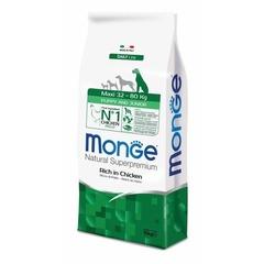 Monge Natural Superpremium Maxi puppy & junior полноценный корм для щенков крупных пород с с курицей и рисом 3 кг