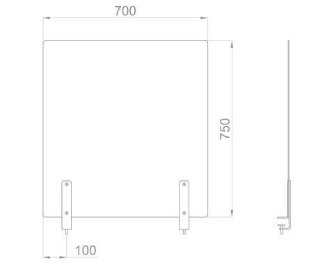 Настольный экран на струбц. Ш.700мм В.600/750 мм