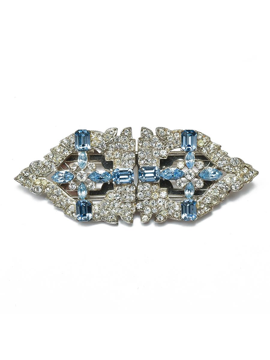 Винтажный фур-клип Coro с синими кристаллами