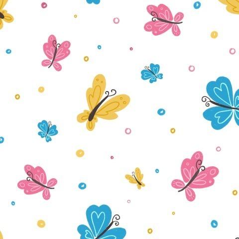 Разноцветные бабочки на белом фоне