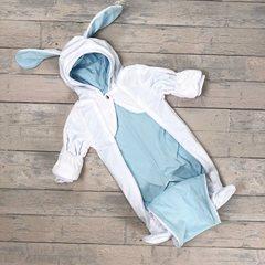 Евромама. Комбинезон плюшевый, белый + голубой гладкий вид 2
