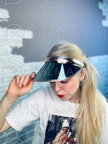 Козырёк-ободок от солнца на голову зеркальный Бежевый