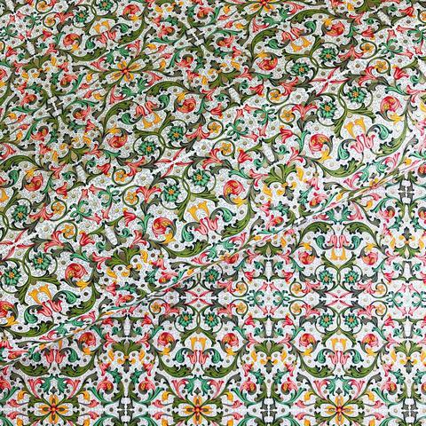 Бумага декоративная упаковочная Флорентийский узор зелёно-красный