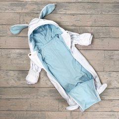 Евромама. Комбинезон плюшевый, белый + голубой гладкий вид 3