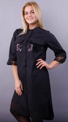 Глем. Нарядное платье-рубашка больших размеров. Черный+черный.