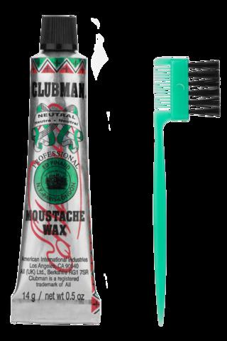 Clubman Воск для укладки и подкрашивания бороды с щеточкой (прозрачный), 15 мл