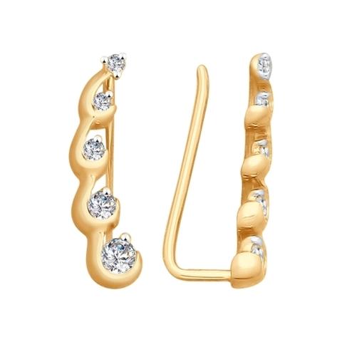 028047- Серьги-эльфы из золота с фианитами