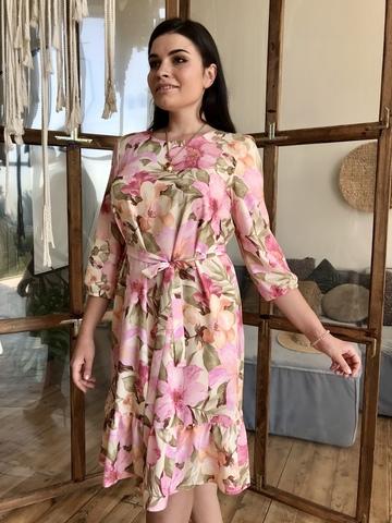 Дори. Легкое молодежное весеннее платье с воланом. Розовый