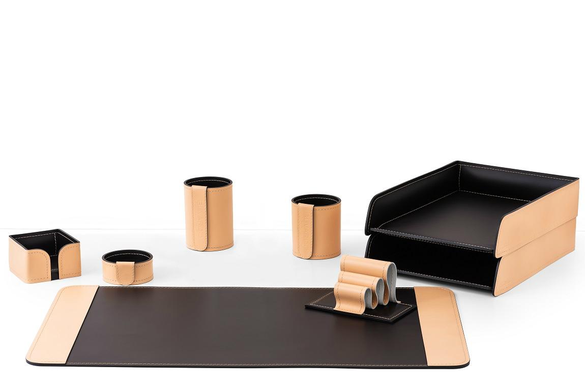 Настольный органайзер 8 предметов из кожи натурале/шоколад випнабор
