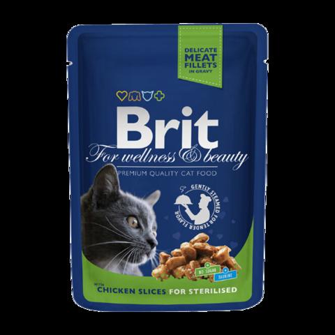 Brit Premium Sterilised Консервы для стерилизованных кошек с курицей (пауч)