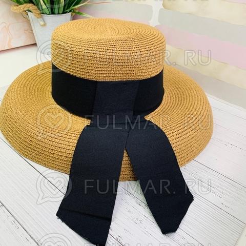 Карамельная женская овальная шляпа соломенная канотье чёрной с лентой