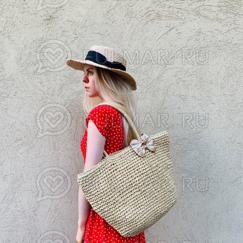 Большая сумка-шопер соломенная плетёная на молнии (цвет Бежевый)