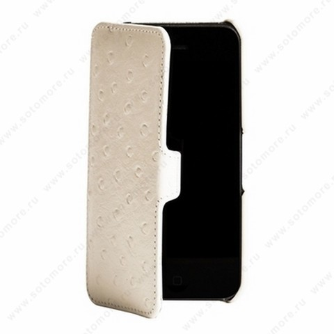 Чехол-книжка Melkco для iPhone SE/ 5s/ 5C/ 5 Leather Case Booka Type (Ostrich Print pattern - White)
