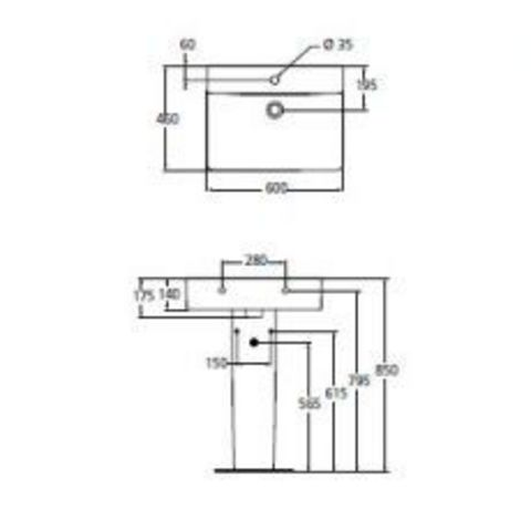 Раковина  Ideal Standard  Connect Cube  60х46см E794501 схема