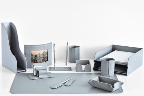 Набор настольный офисный 12 предметов из кожи, цвет серый