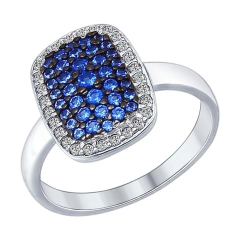 94012186- Кольцо из серебра с синими фианитами