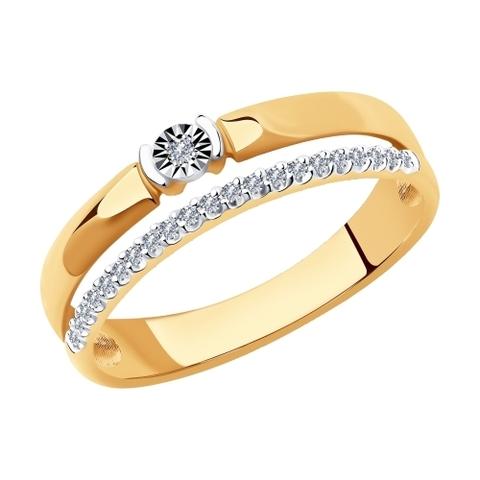 1012013 - Кольцо из комбинированного золота с бриллиантами
