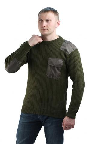 Купить форменный теплый свитер с накладками олива - Магазин тельняшек.ру 8-800-700-93-18