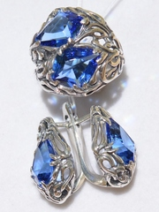 Каркассон (кольцо + серьги из серебра)