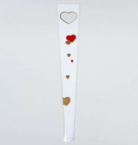 Пакет цветочный Конус на 1 розу Сердца (размер: 15/80) Цвет: белый/золото/красный (упаковка: 50 шт.)