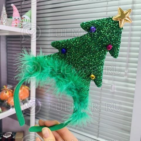 Карнавальный ободок на голову новогодний Ёлочка с бубенцами