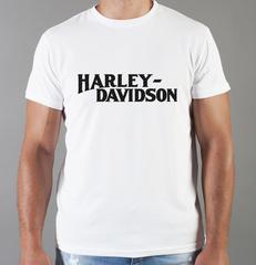 Футболка с принтом Harley-Davidson (Харли-Дэвидсон) белая 0052