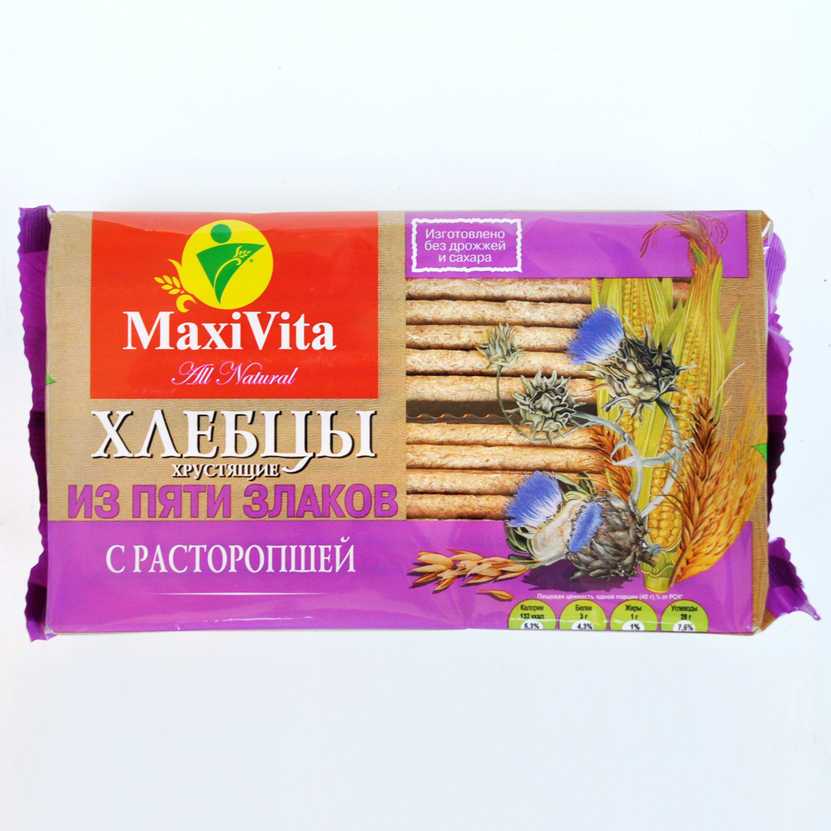 Хлебцы 5 злаков с расторопшей MaxiVita 150 гр