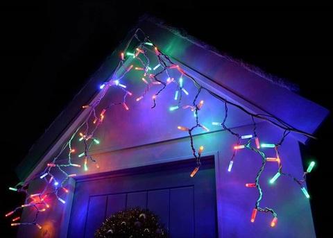 Светодиодная новогодняя гирлянда бахрома сталактиты занавес 5 метров на 0.5 метров разноцветная на каучуковом проводе