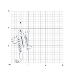 94031377 -Кулон-подвеска буква «Т» из серебра