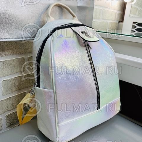 Рюкзак для девочки Голографический с переливами Белый