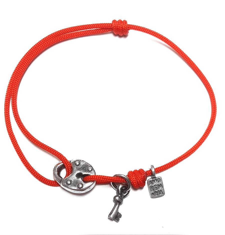 Lock and key bracelet, sterling silver