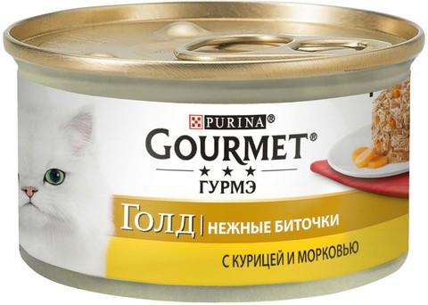 Gourmet Gold нежные биточки с курицей и морковью для взрослых кошек 85 г