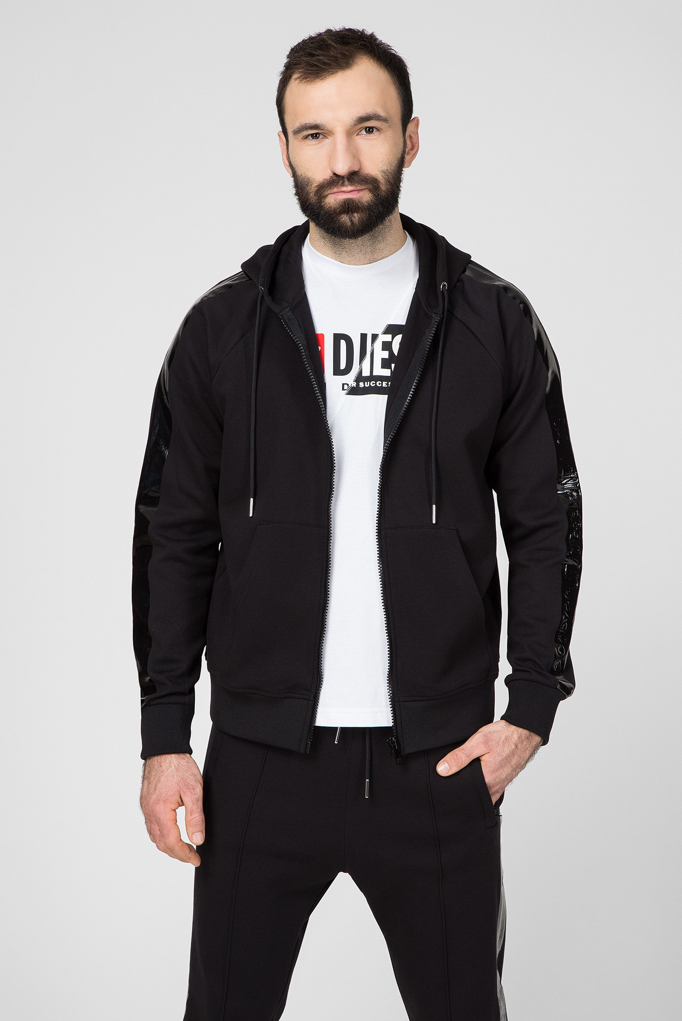 Мужское черное худи S-GIMK-HOOD-J Diesel